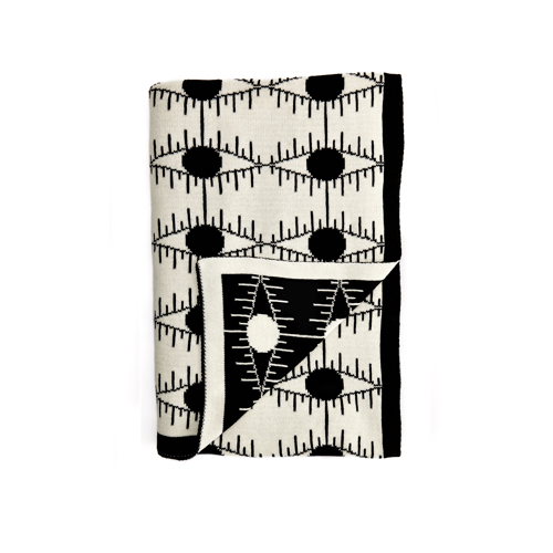 Pulp Design Studios Kismet Lounge Eye of Ra Reversible Throw Blanket White and Black featuring a graphic eye pattern