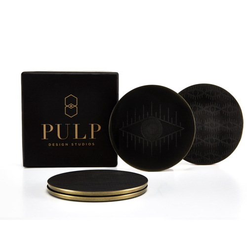 Pulp Design Studios Kismet Lounge Eye of Ra Matte Black Coaster Set with Gift Box