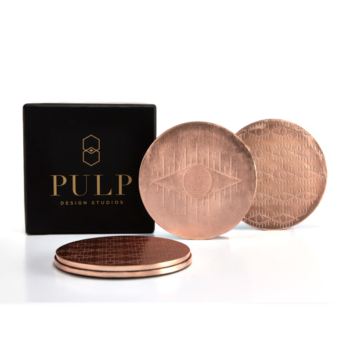 Pulp Design Studios Kismet Lounge Eye of Ra Rose Gold Coaster Set with Gift Box