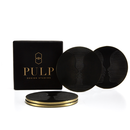 Pulp Design Studios Kismet Lounge Gemini Matte Black Coaster Set with Gift Box