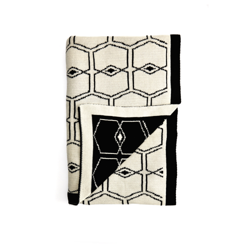 Pulp Design Studios Icon Collection Reversible Throw Blanket Black and White featuring the Pulp logo in a graphic pattern