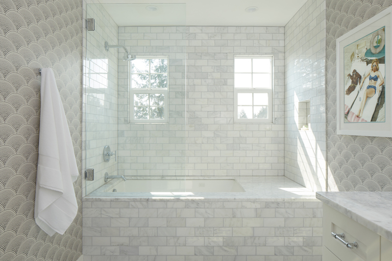 Ode to Art Deco Guest Bath, Modern Bathroom , Bright Tile Shower, Glass Shower Door, Art Deco Wallpaper, Vintage Bathroom Art, Black and White Bathroom
