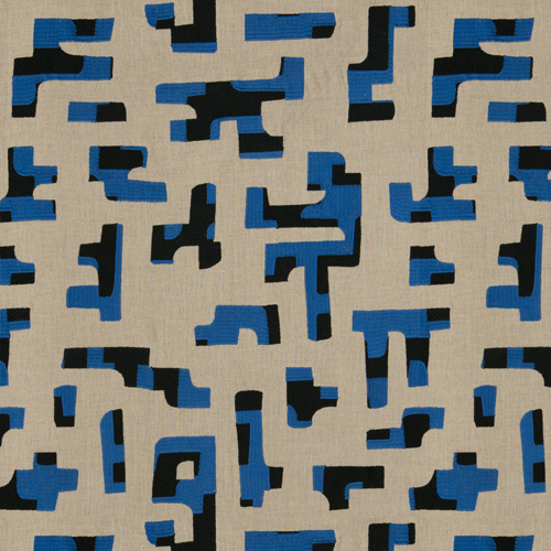Hidalgo - Royal - Pulp Design Studios for S Harris textiles. This embroidered linen is a modern deconstructed interpretation of traditional Otomi fabrics from the Mexican State of Hidalgo. Two different styles of stitching inspired by Mexican embroidery create a geometric statement using black, tan and royal blue.
