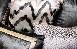 In The Workroom: Custom Neutral Metallic Pillows