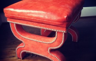PULP Custom: A Chinese Red Leather Ottoman