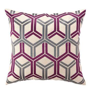 Fuschia Modern Pillows : Fuschia Interlock Embroidered Pillow Pulp Design Studios