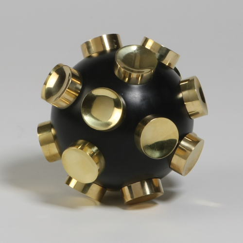 Iron Orb Objet w/ Gold Knobs