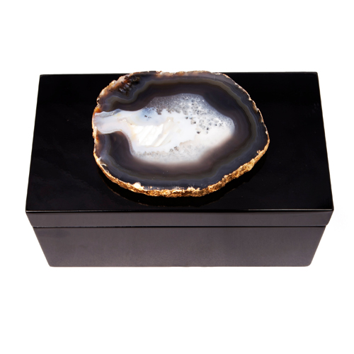 AC-1118 - Lg Black Lacquered Box with Grey and Black Agate