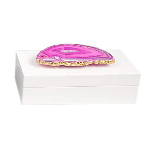 AC-1119 - Small White Lacquered Box with Pink Agate 1