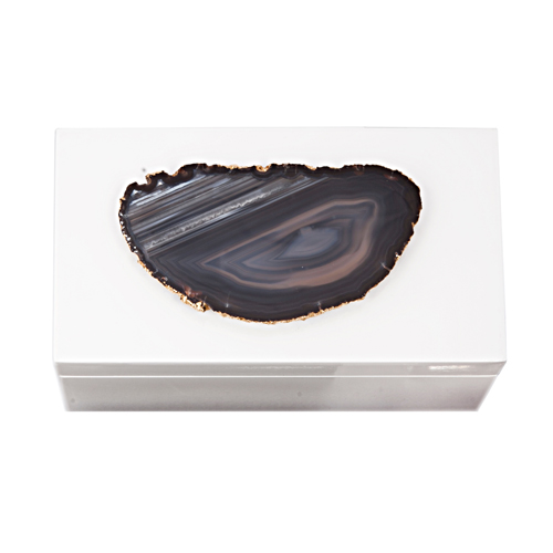 AC-1121 - Lg White Lacquered Box with Grey and Black Agate 1