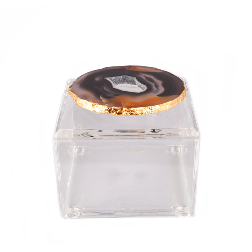 AC-1123 - Acrylic Box with Grey and Black Agate 2
