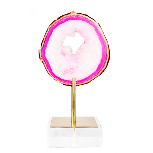 AC-1129 - Med Lollipop Pink Agate on Brass & Acrylic