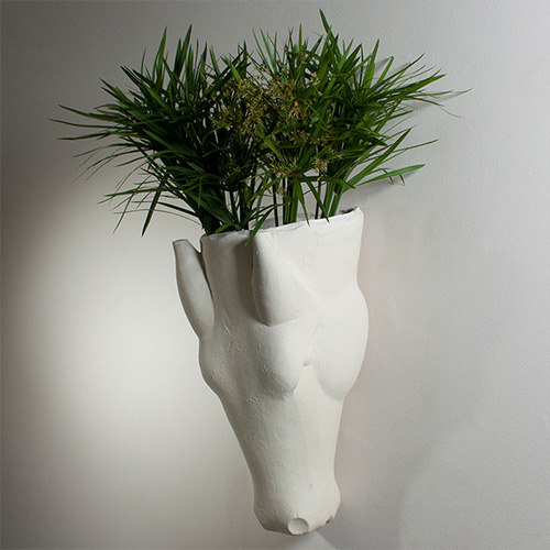 Equus Wall Vase Limestone Finish