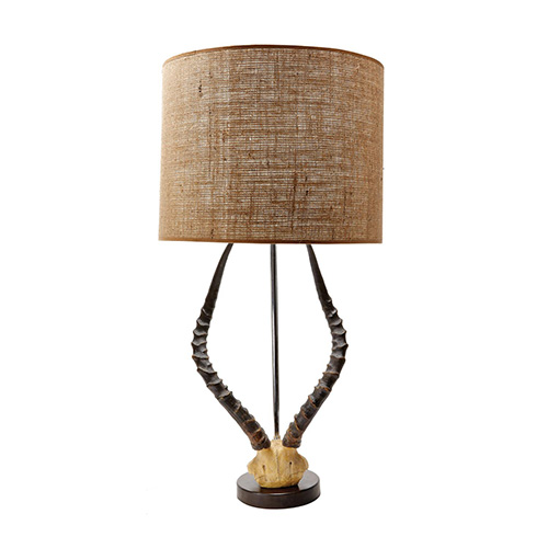 faux-horn-lamp-with-burlap-shade