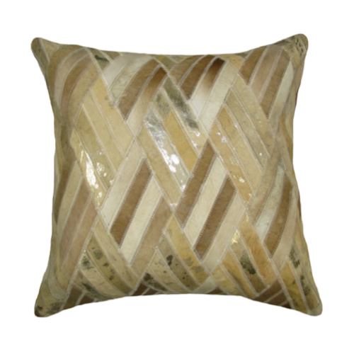 Pulp Home - Leather Diamond Pillow Gold