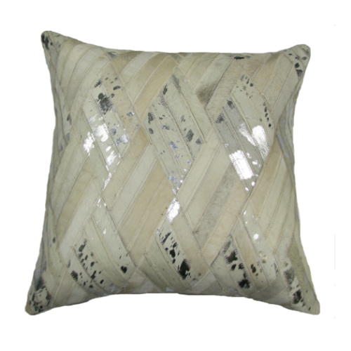 Pulp Home - Leather Diamond Pillow Silver