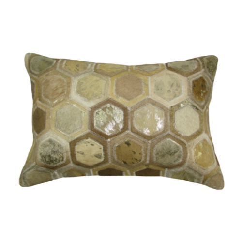 Pulp Home - Leather Hex Pillow Gold Small