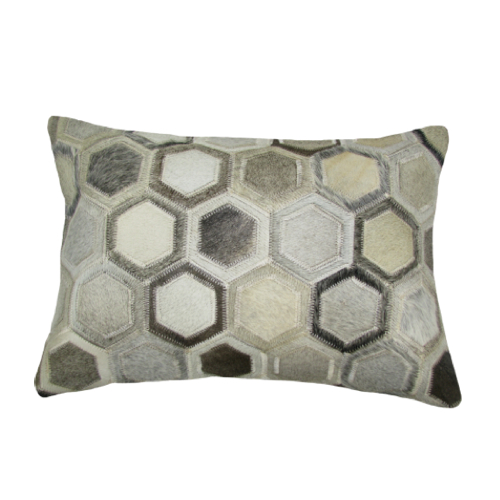 Pulp Home – Leather Hex Pillow Gray Small