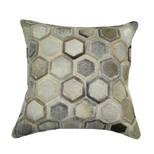 Pulp Home – Leather Hex Pillow Gray