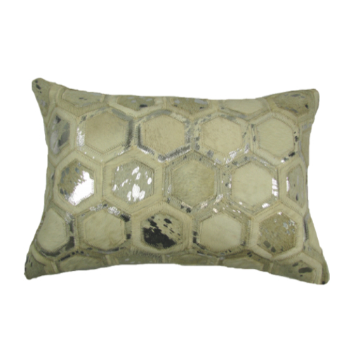 Pulp Home – Leather Hex Pillow Silver Small