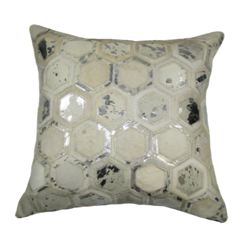 Pulp Home - Leather Hex Pillow Silver