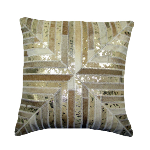 Pulp Home – Leather Mitered Pillow Gold