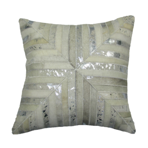 Pulp Home – Leather Mitered Pillow Silver