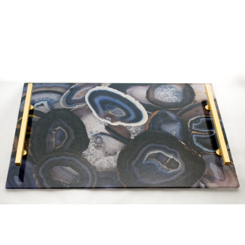 Pulp Home – Acrylic Agate Tray Black:Gray