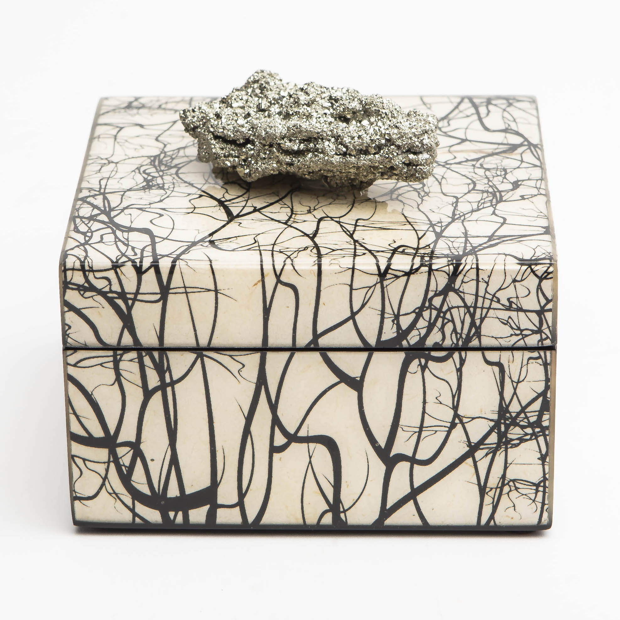 Pulp Home - Roots Square Box with Pyrite