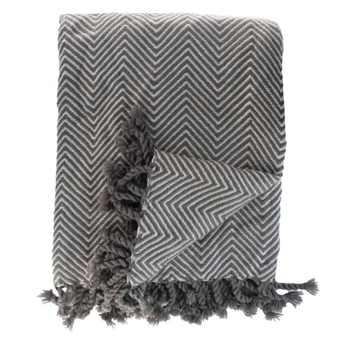 Pulp Home – Tassel Throw – Charcoal:Slate
