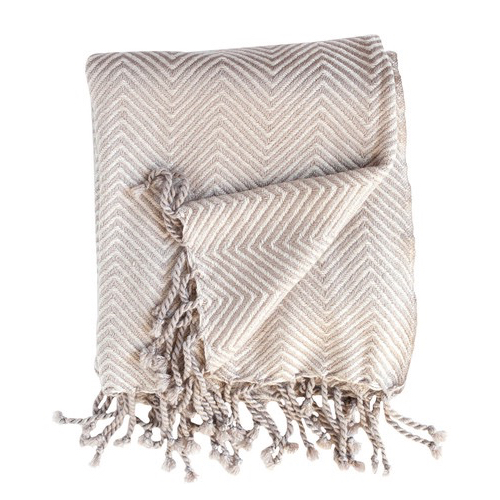 Pulp Home - Tassel Throw - Camel/Creme