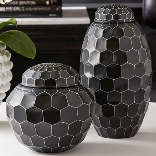 Pulp Home - Facet Black Covered Jars (Hand - painted Porcelain, set of 2)