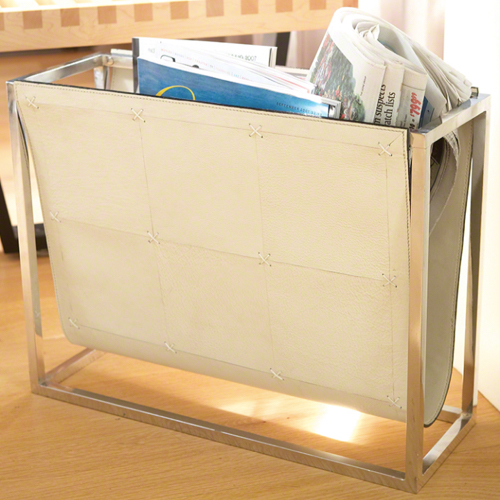 Pulp Home - Magazine Caddy - Beige Leather