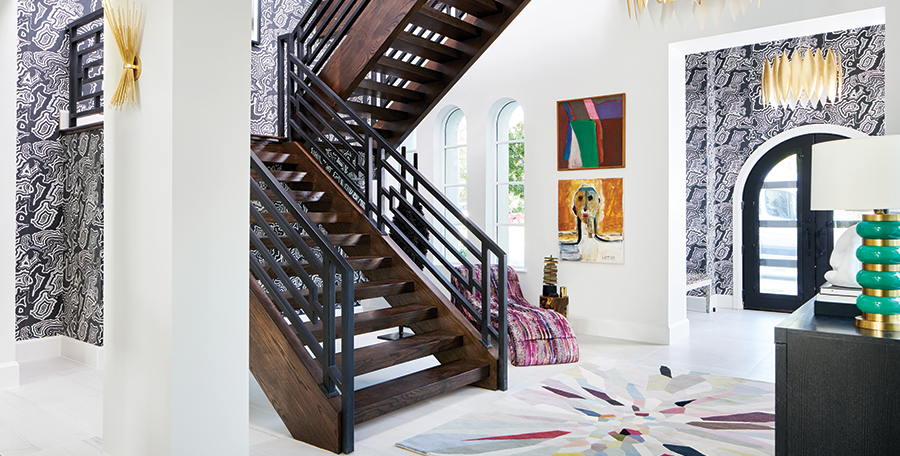 TRADITIONAL HOME DALLAS SHOWHOUSE An Unforgettably Bold Entry + Staircase