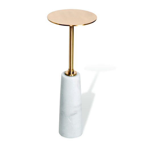 Beck Round Drink Table White Antique Brass Pulp