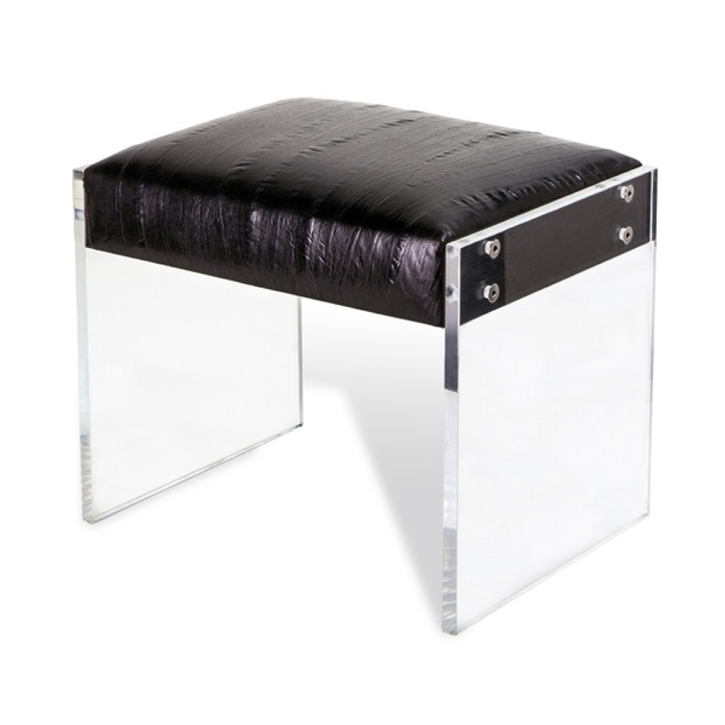 Pulp Home - Aiden Leather Stool - Black