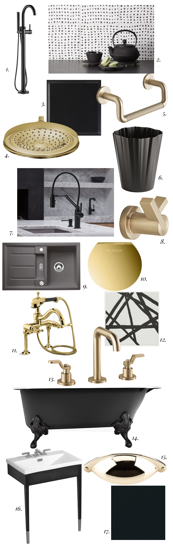 brass, matte black, kitchen trend, bath trend, brass in the kitchen, matte black in the kitchen, brass in the bathroom, matte black in the bathroom, brass hardware, matte black hardware, kelly wearstler tile, litze collection, blanco, brizo, kohler, brass shower head, matte black bath tub, matte black sink, mr steam, brass bathroom, gold bathroom,