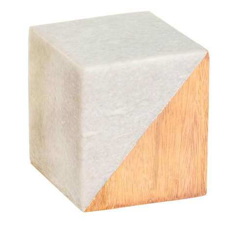 Pulp Home – Small Marble and Wood Split Cube