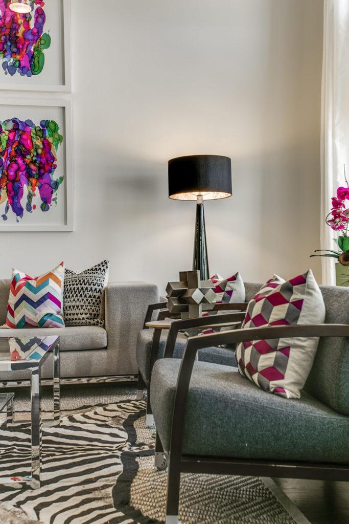 Pulp Design Studios Vibrant Townhome Living Room Vingette