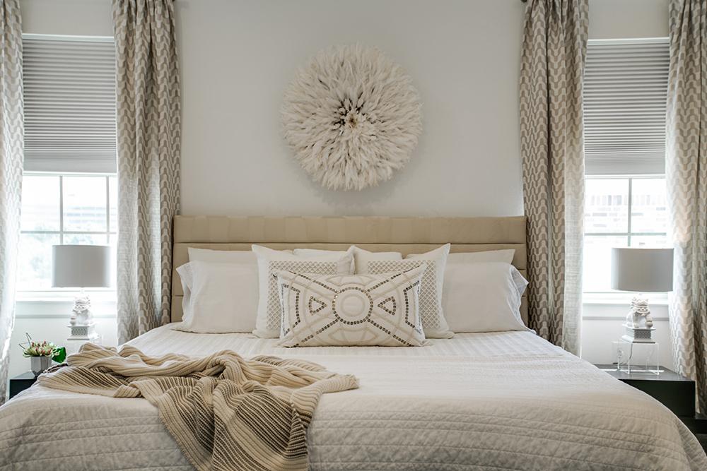 Pulp Design Studios Vibrant Townhome Master Bedroom Bed
