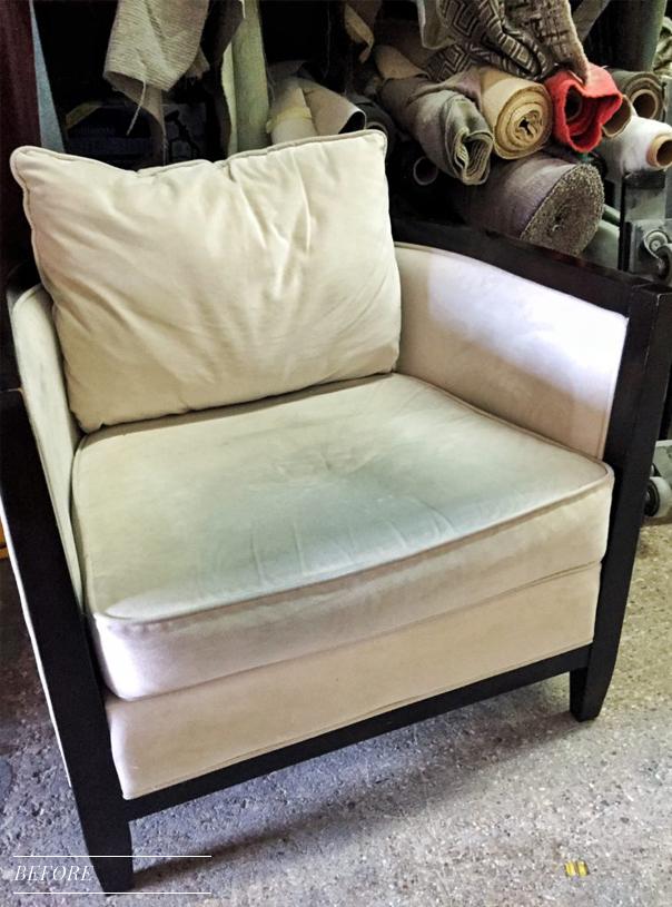 before ultrasuede chair at workroom
