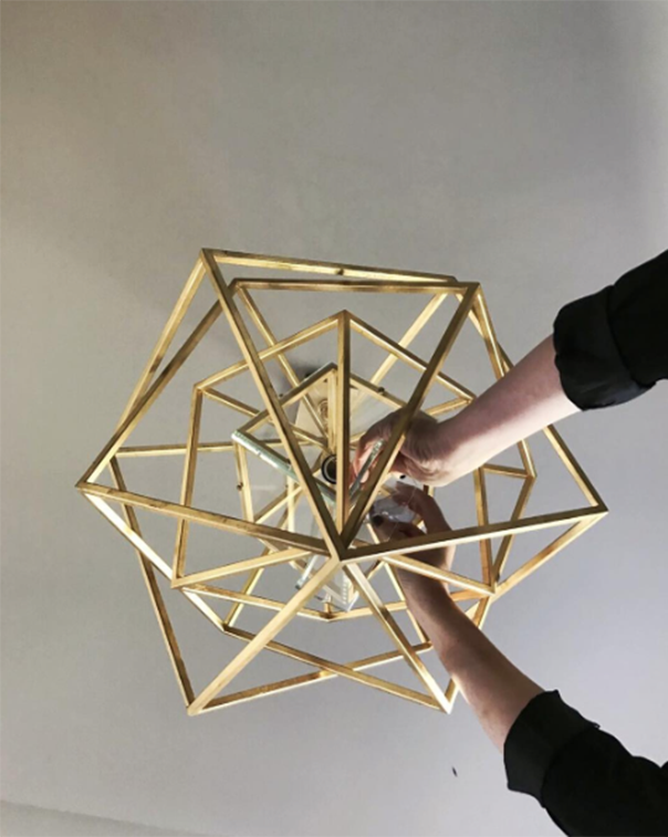 gold geometric lighting fixture