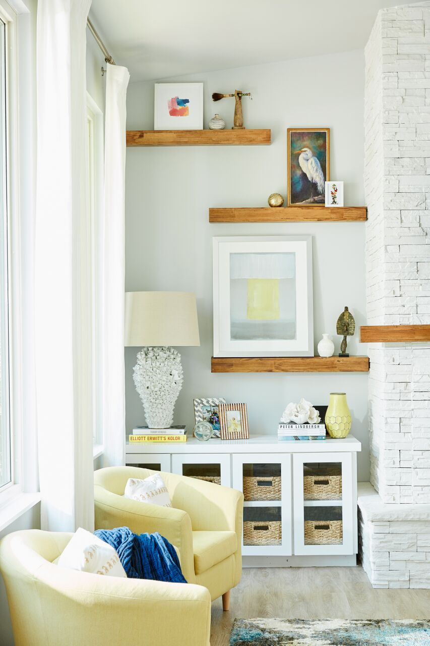 Lakehouse Retreat seating and wood shelving in living room