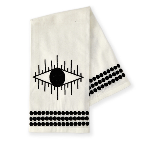 Pulp Design Studios Kismet Lounge Collection Embroidered Black and White Tea Towel made of Linen featuring an eye and dotted border