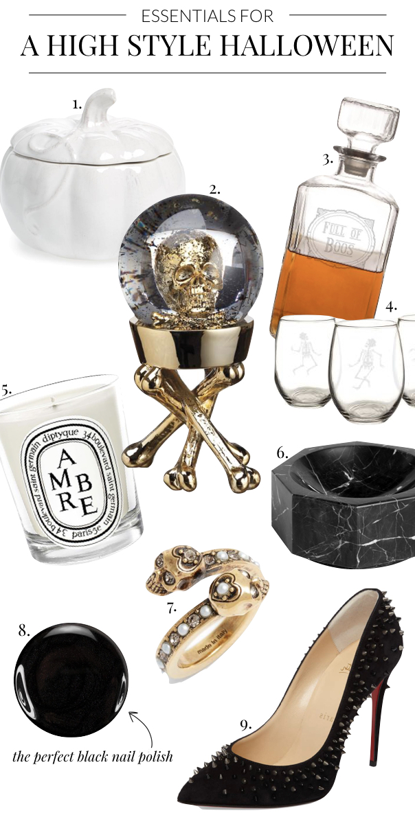Everything You Need for a High Style Halloween- white pumpkins, skeleton glasses, decanter, Amber Diptyque Candle, black marble bowl, skull ring, studded heels, black nail polish