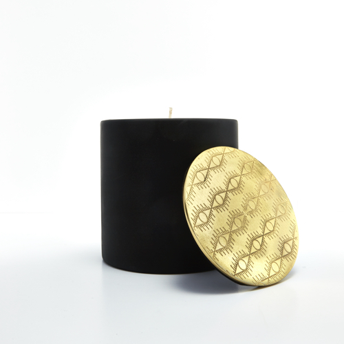 Pulp Design Studios Kismet Lounge Collection Eye of Ra Matte Black Candle with Decorative Brass Lid