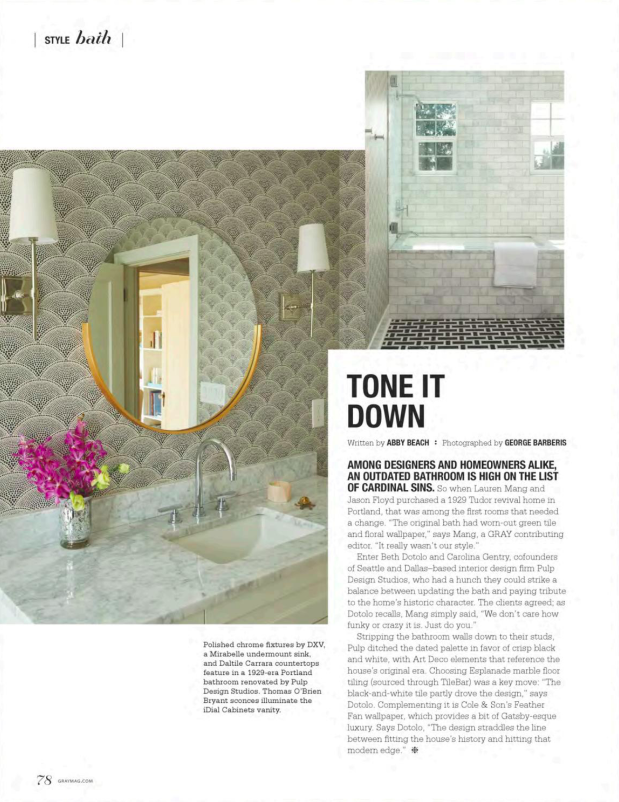 Gray Magazine - October/November 2017, bathroom design, art deco bathroom, Feather Fan wall covering, Esplanade marble floor