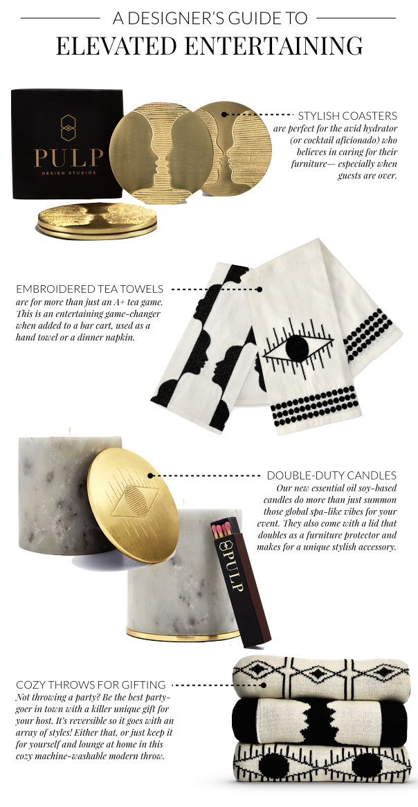 How to Elevate Your Entertaining Game featuring the Kismet Collection- brass/gold coasters, tea towels, marble candle, reversible throw