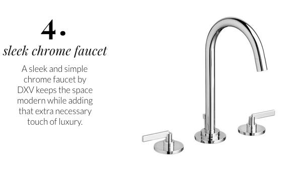 DXV faucet, chrome bathroom fixtures, silver faucet, modern faucet
