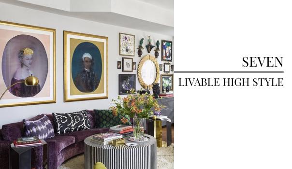 interior design trend, livable luxury, luxury interior design, purple couch, purple sofa, jewel toned furniture, milo baughman, velvet couch, gold picture frame